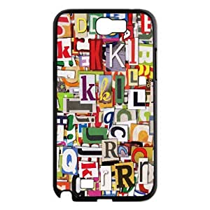 Samsung Galaxy Note 2 Case Colorful Clippings Cute for Girls, Case for Samsung Galaxy Note 2 for Men Jackalondon, {Black}