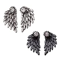 MengPa Womens Gothic Angel Wings Stud Earrings Front Back Fashion Jewelry Antique Silver+Black
