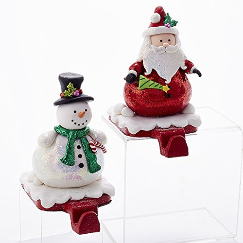 - Kurt Adler 1 Set 2 Assorted 6 Inch Clay Dough Santa And Snowman Stocking Holders