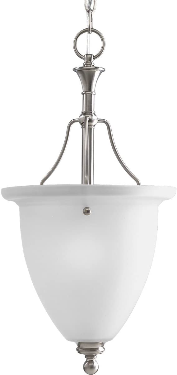 Progress Lighting P3793-09 1-Light Inverted Pendant with White Etched Glass, Brushed Nickel