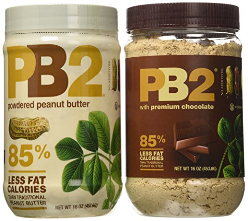 Bell Plantation Powdered PB2 Bundle: 1 Peanut Butter and 1 Chocolate Peanut Butter, 1 lb Jar (2-pack) (Powdered Pb)