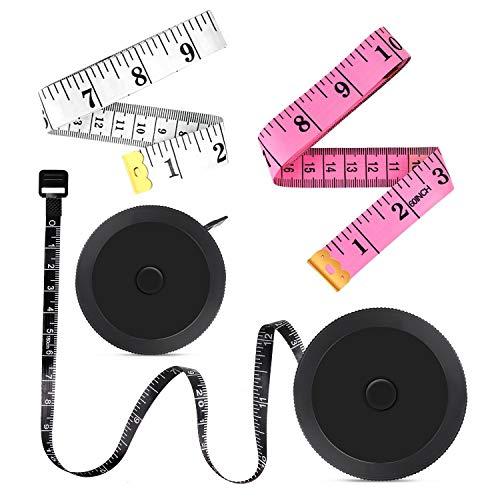 Measuring Tape, Retractable Tape Measure for Body 4 Pack Measurement Tape Ruler Tape for Sewing Tailor Seamstress Mini Tape Measure Black, White and Pink (Measuring Tape For Body Paper)