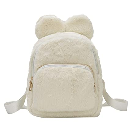 Amazon.com  Allywit Cute Women Girl Plush Fluffy Girls Women Shoulder Bag  Travel Tote Small Backpack (White)  Toys   Games 24f223859d168