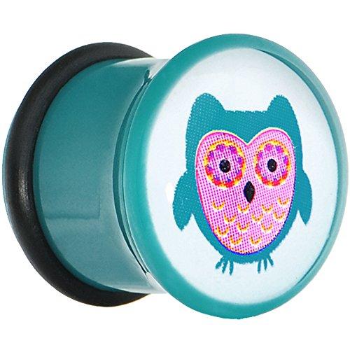 Body Candy 00 Gauge Blue Acrylic Owl Single Flare Ear Gauge Plug (1 Piece)