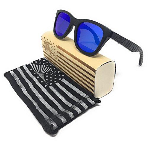 Patriot Shades Polarized Floating Large Frame Bamboo Wood Wayfarer Sunglasses | LOUDMOUTH PATRIOT (BLACK, - Large Wayfarer Sunglasses Size