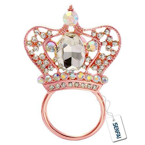 SENFAI Crystal Crown Magnetic Eyeglass Holder Brooch Key Rings ( Rose - Gold Sunglasses New Look Rose