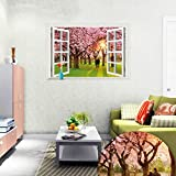 Ghaif A wide range of 3D simulation landscape at the windows of the living room bedroom school dorm posters sofa tv wall-E cherry blossom trees 85cm57cm large