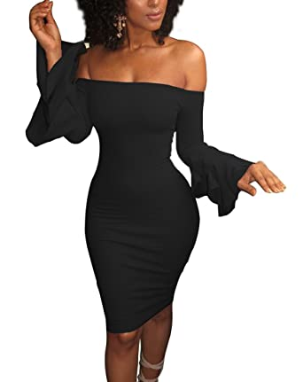2c1de42fa2ee YiYaYo Womens Sexy Off Shoulder Long Flare Bell Sleeve Bodycon Club Party  Mini Dress Black S