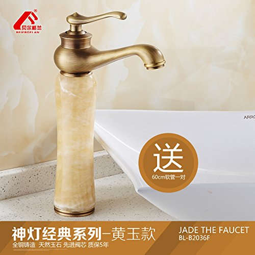 1 LHbox Antique jade plus high European faucet sink hot and cold natural green jade basin full copper Washbasin Faucet, God is the classic antique series Wong Yuk-Aspect
