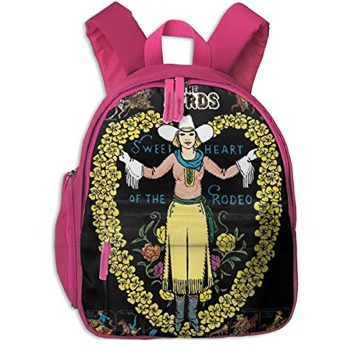 JohnnyKJay Girls Women Schoolbag Double Zipper Closure Waterproof The Byrds Sweetheart Of The Rodeo Classic Children Schoolbag Backpacks With Front Pockets For Youth Boy Girl Kids Pink