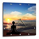 3dRose dpp_62907_3 Yoga Lotus Position on The Beach at Sunset-Wall Clock, 15 by 15-Inch