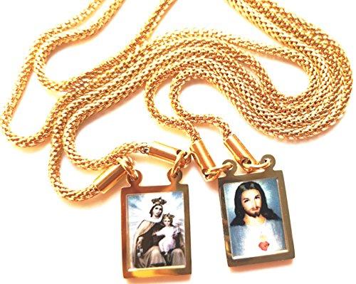 Gold Scapular Medal - scapular_Our Lady Of Mount Carmel_24K La Virgen del Monte Carmelo escapular. collar plateado 24K. Gold. Scapular medal