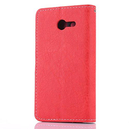 Funda Galaxy J5 2017(J530),SainCat Funda de cuero sintético tipo billetera de Suave PU Carcasa Con Tapa y Cartera,Ranuras para Tarjetas y Billetera Funda de Flip Ranuras Tarjeta Slots Función Rugged P Rojo + rosa roja