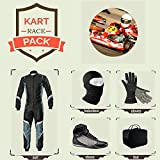 Sports Blue Go Kart Racing Suit Suit,Gloves,Balaclava and Shoes free bag - Black With Gray White Style