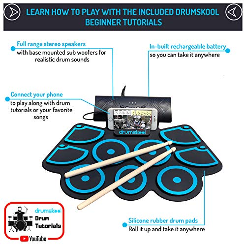 Drumskool Electronic Drum Set, MIDI Electric drum kit, Connect your phone to play along with included Drum Lessons, Speakers, Drum Pedals, Drum Sticks, 10 hours play time, Quickstart Guide by Drumskool (Image #1)