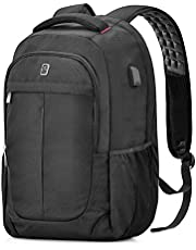 Laptop Backpack, Sosoon Business Travel Anti-Theft 15.6-Inch Casual Rucksack with USB Charging Port, Water Resistant Large Compartment College School Computer Bag Work Backpack for Men/Women, Black