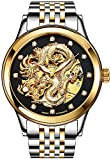 "PASOY Mens Watches ""Dragon Collection"" Black Dial Steel Automatic Mechanical Waterproof Skeleton Watch"