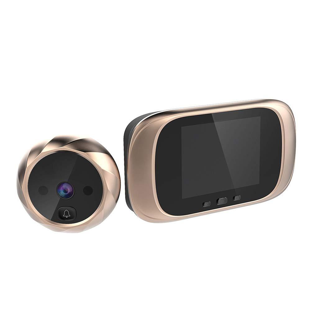 Smart Photo Cat Eye Doorbell, Digital Door Viewer, Digital LCD Doorbell Security Camera, Home Smart Video Doorbell Door Electronic Cat Eyes 90 Degree Peephole (Gold)