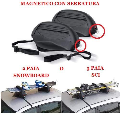 COMPATIBILE CON VOLKSWAGEN MAGGIOLINO CABRIO 3 PAIA DI PORTASCI O 2 PAIA DI PORTA SNOWBOARD ARTICOLO MAGNETICO PER TETTO AUTO NON IN VETRO OMOLOGATO UNIVERSALE 38X27X55CM