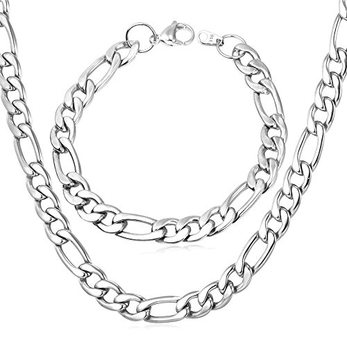 U7 Men 9mm Stainless Steel Figaro Chain Necklace Bracelet Set - 22