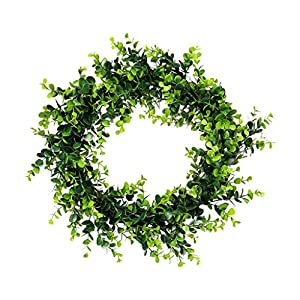 """Mikilon Artificial Green Leaves Rose Forsythia Wreath - 9.87""""-17.7"""" Artificial Garland for Front Door Wall Window Party Décor, Indoor/Outdoor Use (Boxwood, 11.81 x 11.81inch) 118"""
