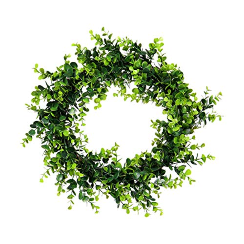 NszzJixo9 Artificial Green Plant Wreath -Simulation Green Plant Garland Home Office Decor Artificial Boxwood Wreath Leaf Wreath for Front Door Wall Window Party Decor,Indoor/Outdoor -