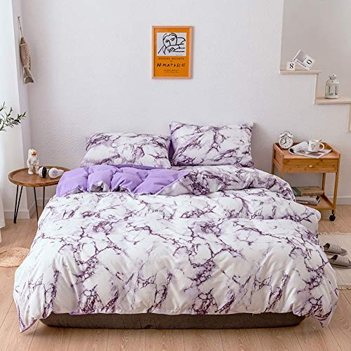 (XRROOK Duvet Cover Set Two-Tone Modern Marble and Solid Color Soft Hypoallergenic Microfiber Bedding Quilt Cover Set with Zipper 2/3 Pieces Duvet Cover + Pillow Case-Purple-Queen 228 x 228cm)