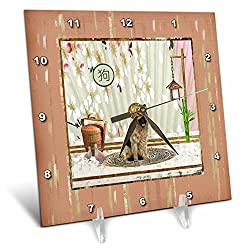 3dRose Beverly Turner Chinese New Year Design - German Shepard. Asian Design, Birds, Basket, Blooms Wall, Sign of Dog - 6x6 Desk Clock (dc_262900_1)