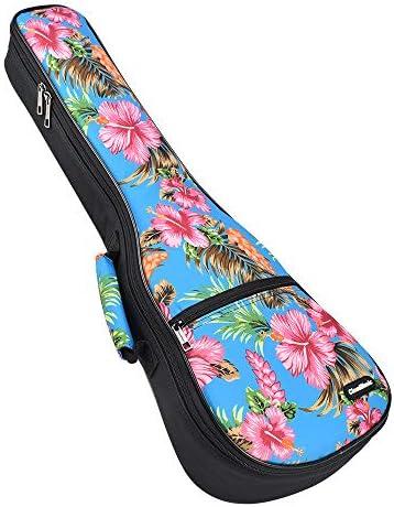 CloudMusic Funda para Ukelele Soprano con Correas Ajustables para los Hombros y Asa para Llevar Acolchado de 10mm 55cm x 17cm (23/24) Diseño Patrón de flor de Cerezo Fondo Azul (Soprano): Amazon.es: