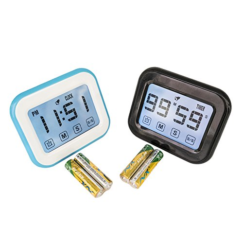 GTDnow Touch Screen Clock Timer Alarm, Digital Kitchen Timer Clock Mute Kids, Classroom, Library, Studying, Working, Meditation, Zen, Pomodoro Technique.(Alkaline Batteries Included)