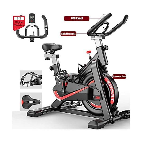 Fnova Vélo d'Appartement Fitness, Vélo Spinning/Le Gymnase avec Moniteur de fréquence Cardiaque/Écran LCD/Capteurs de pouls, Vélo Sport Biking accessoires de fitness [tag]