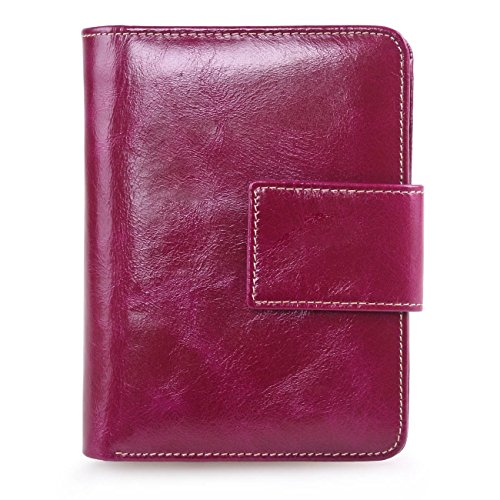AINIMOER Women's Small Genuine Leather Bi-Fold Wallet Card Holder Coin Pocket with Zipper(Purple Red)