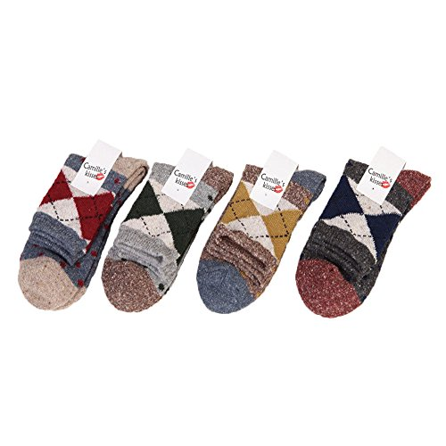 Women's 5 Pairs Vintage Style Winter Warm Casual Cotton Wool Thick Knit Crew Socks (mixed color) (C-dot)