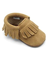 Dotty Fish Moccasins. Soft Sole Suede Baby Shoes. Non-Slip. Infant Toddler First Shoes. Boys Girls. Berry, Tan, Grey, Navy. Sizes 0-6 Months to 18-24 Months.