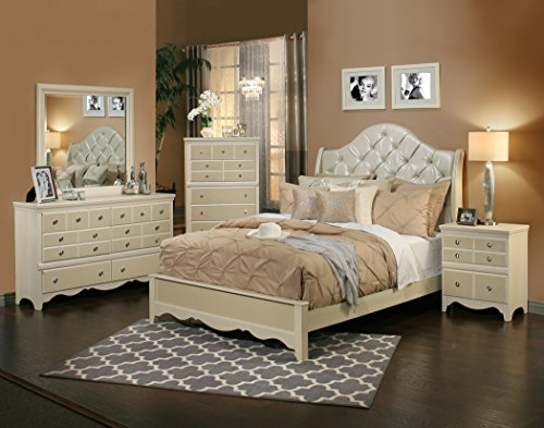 Sandberg Furniture 354D Marilyn Bedroom Set, Queen (Den Furniture Sets)