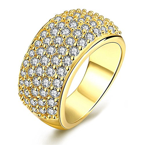 - Uloveido Dainty Brilliant Round Cut Lab Moissanite Ring, Gold Plated Wide CZ Cluster Statement Rings for Ladies (Gold Size 9) CR002