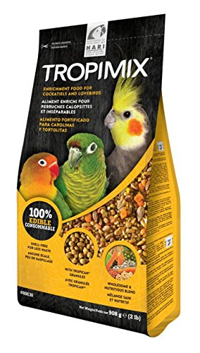 Tropimix Premium Formula for Cockatiels & Lovebirds, Enriched with Essential Vitamins & Amino Acids for Feather Growth, 2 lb Bag