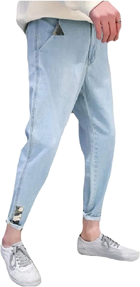 Tootess Mens Relaxed-Fit Summer Vingtage Wash Denim Pants Patches Jeans