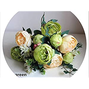 2pieces/Lot12 Flower Heads Silk Flower European 1 Bouquet Artificial Flowers Peony Fake Leaf Wedding Home Party Decoration,White and Green 68