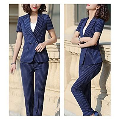 SUSIELADY Women's Formal Two Pieces Stripe Office Lady Business Work Suits Short Sleeve Women Blazers for Work Blazer at  Women's Clothing store
