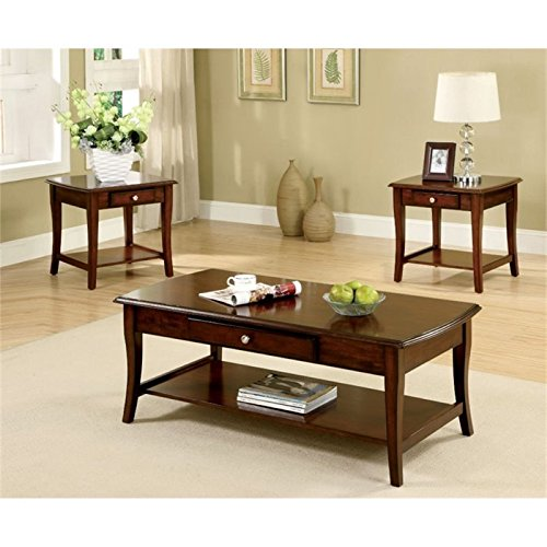 3 Piece Oak Cocktail Table - Pemberly Row 3 Piece Coffee Table Set in Dark Oak