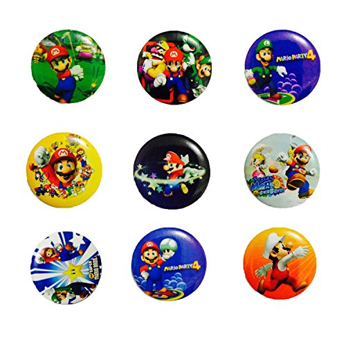 Price comparison product image Super Mario 1 1/4 Inch Badge Button Pin Pinback Button Set, 9-pcs