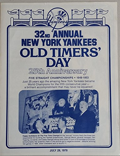 (1978 Yankees Old Timer's Day Program (4 pg) Jul 29 - DiMaggio, Mantle, Ford, Roy Campanella, Yogi Berra, Roger Maris, Junior Gilliam (died Oct '78) Near-Mint to Mint)