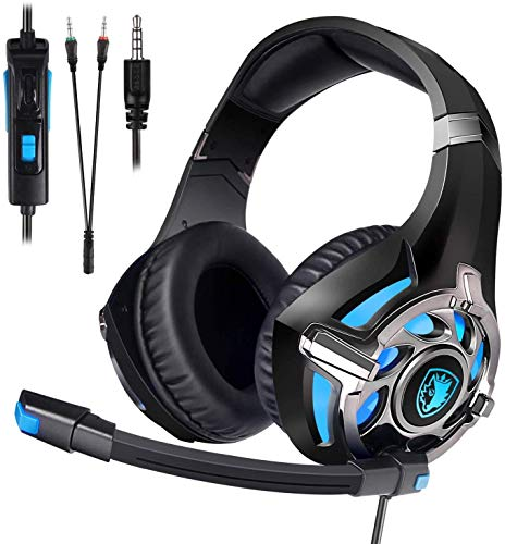 SADES Gaming Headset for PS4, Xbox One,PC Surround Sound Over-Ear Headphones with Noise Cancelling Mic, Soft Comfort…