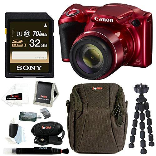 Canon PowerShot SX420 IS Digital Camera w/ Sony 32GB SD Card & Advanced Accessory Bundle by Canon