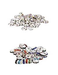 Fityle 100pcs Czech Rhinestone Rondelles Crystal AB Jewelry Decoration Gifts