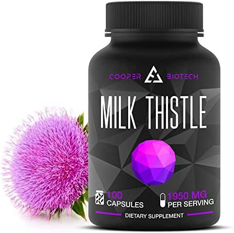 Organic Milk Thistle Extract Capsules- 100 Capsules 1950 Milligrams - Promotes Liver Health - Liver Cleanse and Detox - Helps Boost Immune System and Supports Weight Loss
