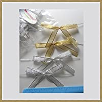 25pcs Gold and silver Metallic Pre-Tied Ribbon Bows