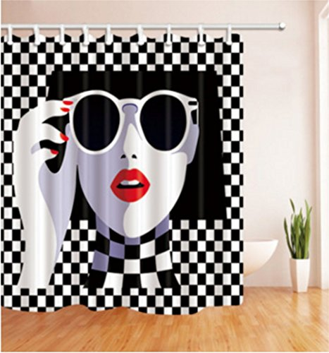 Chic Decor Shower Curtain, Chic Lady Stylish Pop Art, Fabric Bathroom Decor Set with 12 Hooks, 71x71 Inches, red Lips - With Lady Sunglasses