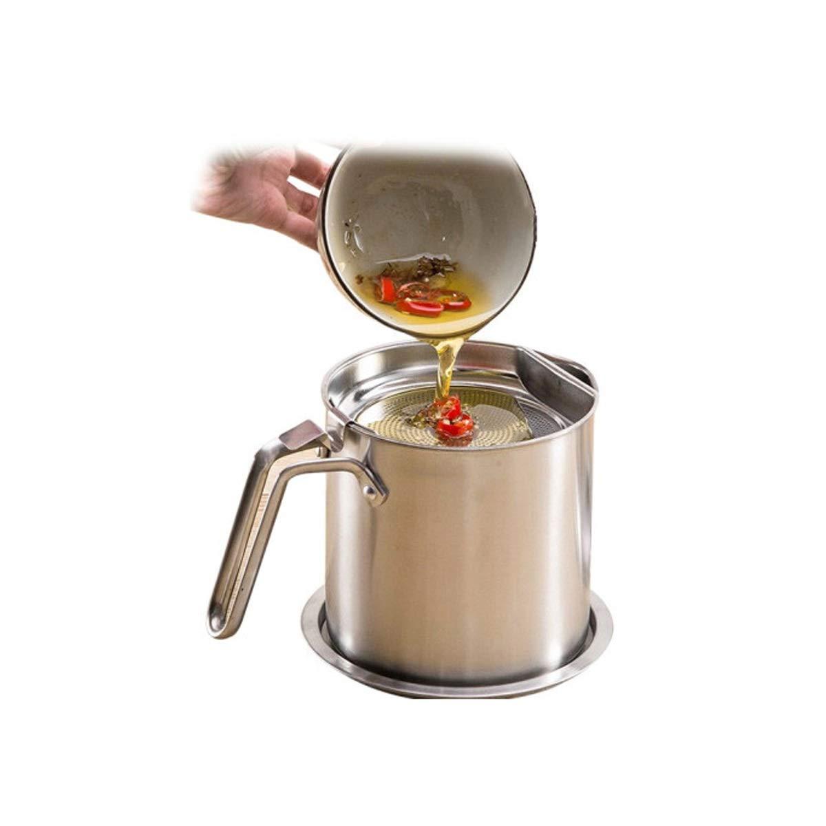 QINRUIKUANGSHAN 304 stainless steel oil pot glass filter bottle soy sauce bottle kitchen supplies leakproof large storage tank oil filter (Color : Silver) by QINRUIKUANGSHAN